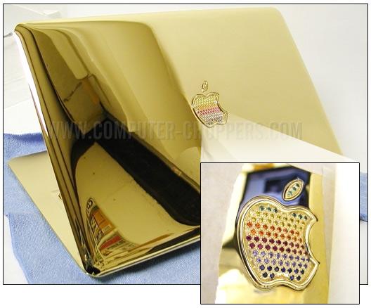 MacBook Air de ouro e pedras preciosas