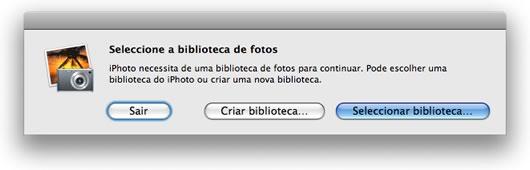 Opção de criar ou abrir biblioteca do iPhoto