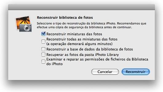 Opções de recuperar biblioteca do iPhoto