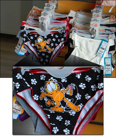 Garfield com iPod em lingerie