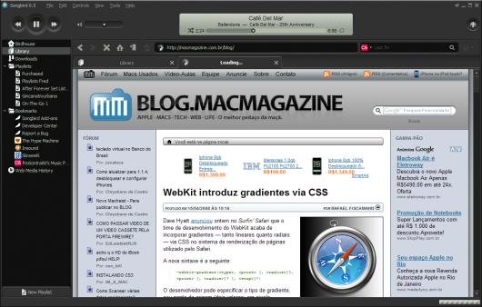 Songbird como navegador de internet. Clique para ampliar.