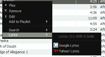 Busca de letras no menu contextual