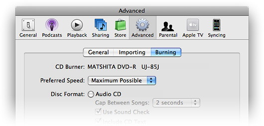 iTunes Preferences - Advanced - Burning
