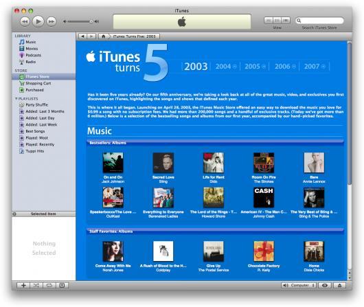 iTunes 5 anos: 6 milhões de músicas
