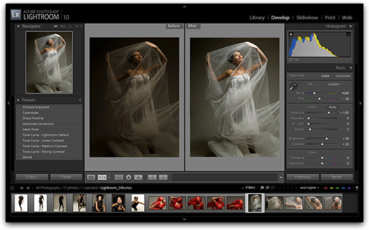 Interface do Adobe Photoshop Lightroom