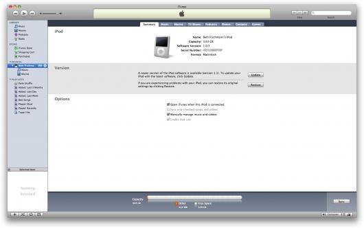 iPod nano conectado ao iTunes