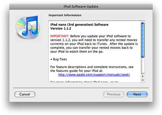 Atualização de firmware para o iPod nano