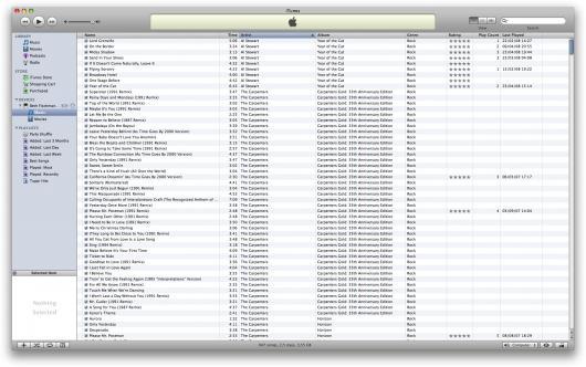 Lista de músicas no iPod nano