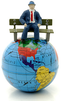 Homem sentado do mundo