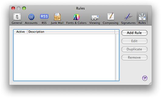 Regras dinâmicas no Mail.app