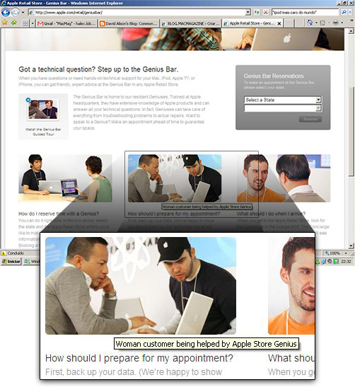 Erro de digitação no site Genius Bar da Apple