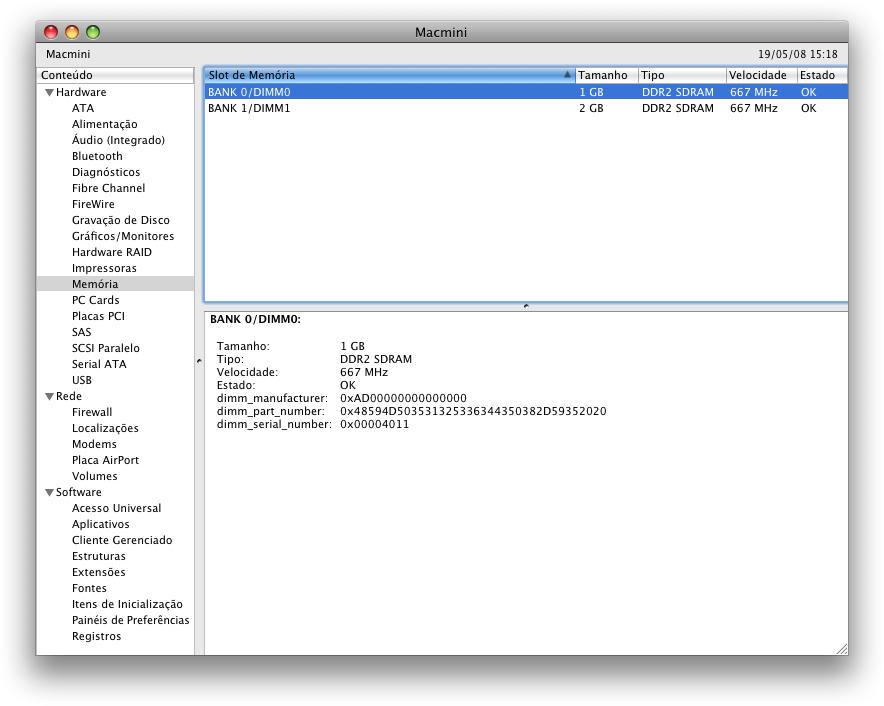 Apple System Profiler do Mac mini: 3GB de RAM