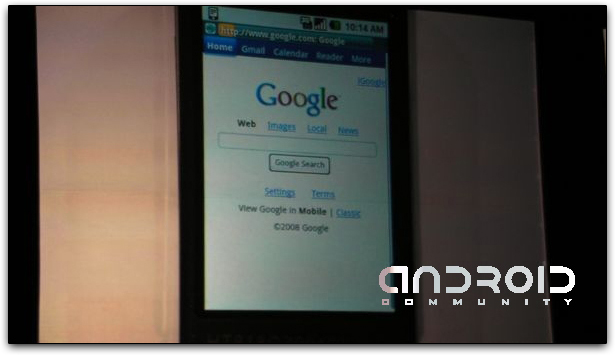 Web Apps do Google no navegador web do Google Android