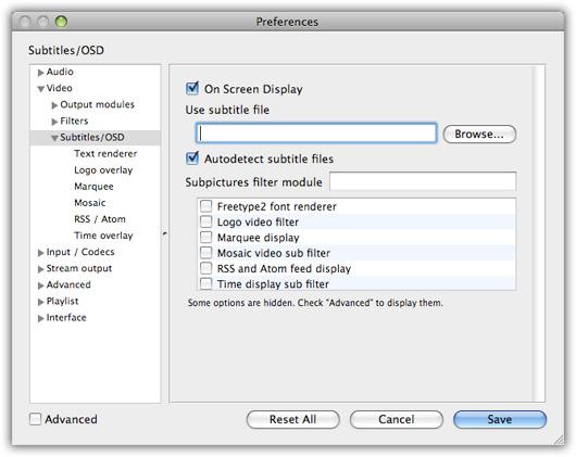Preferências do aplicativo VLC