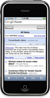 Novo Google Reader no iPhone