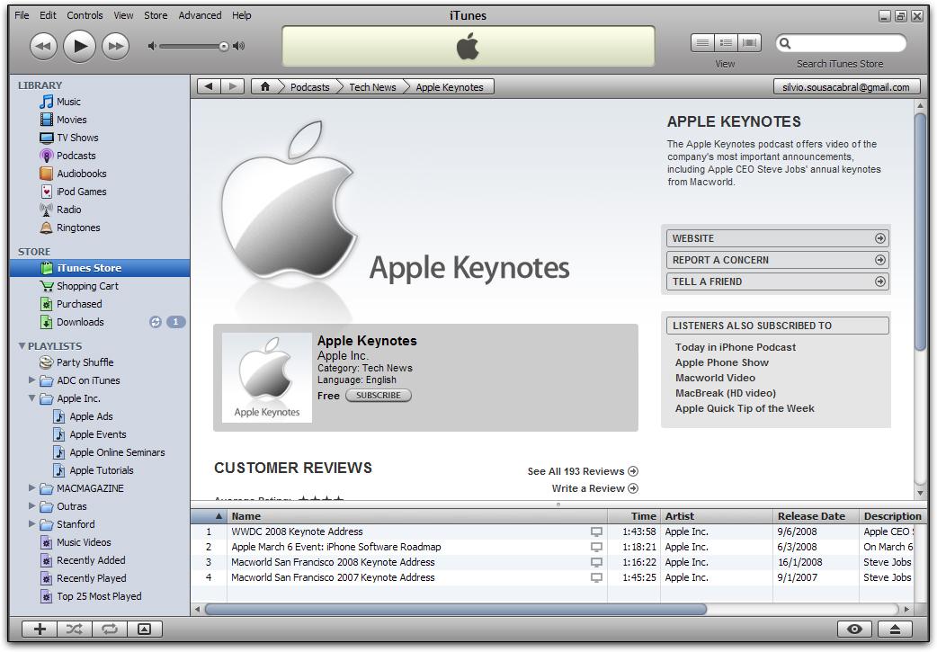 WWDC 2008 Keynote Address na iTunes Store