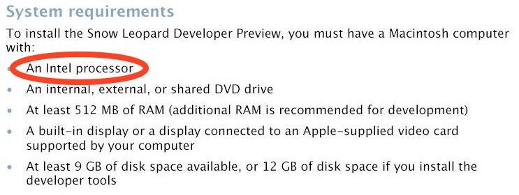 Requisitos de Sistema do Mac OS X 10.6 Snow Leopard
