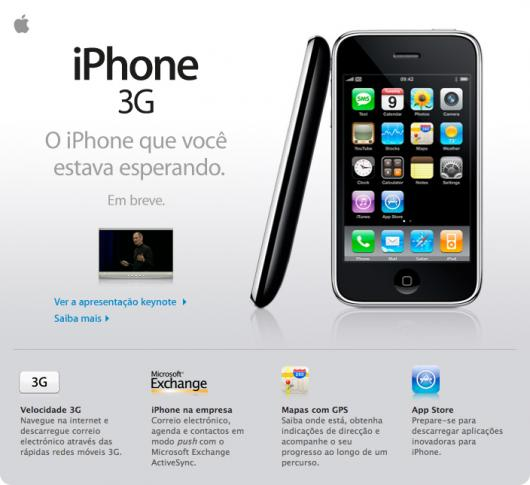 Newsletter da Apple Brasil sobre o iPhone 3G
