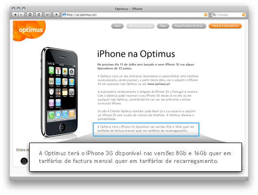 iPhone no site da Optimus