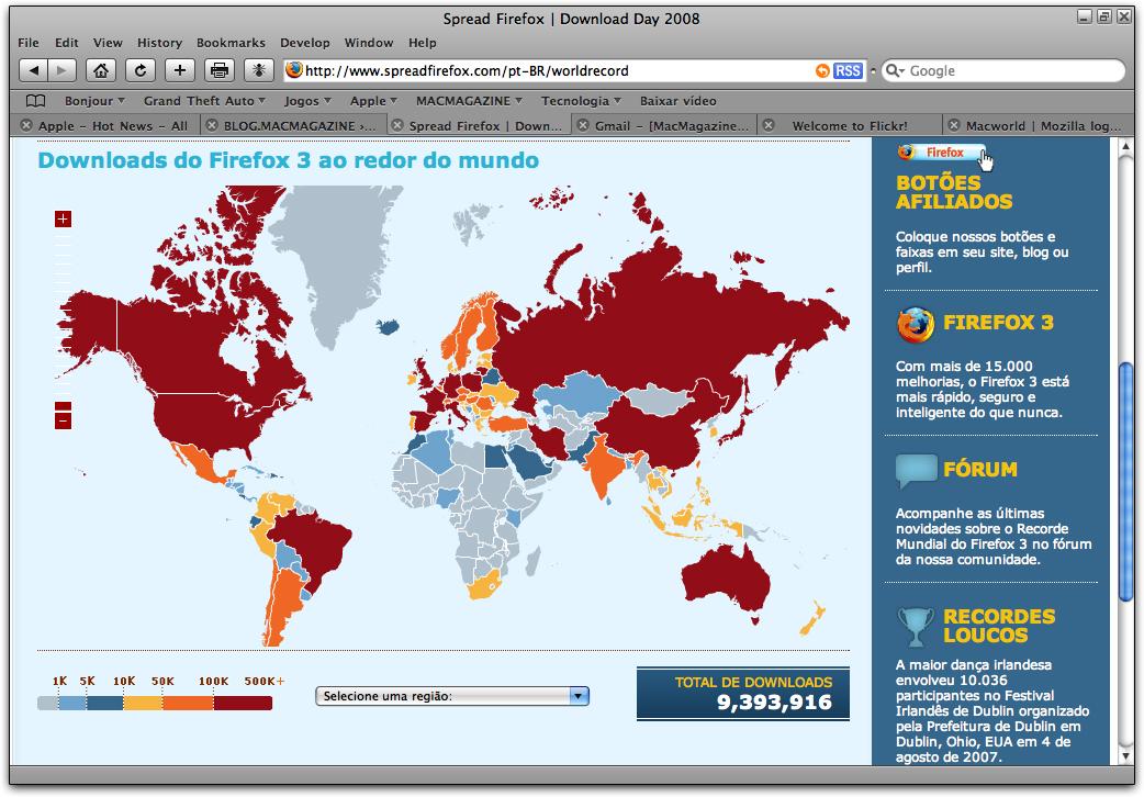 Contador de Downloads do Firefox 3 até 18/06/2008