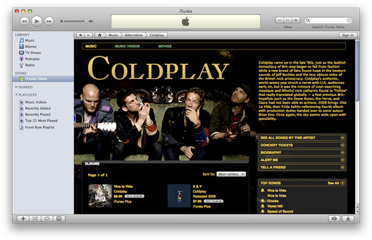 Coldplay na iTunes Store