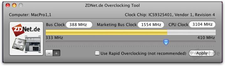 ZDNet Overclock Tool em um Mac Pro da primeira geração