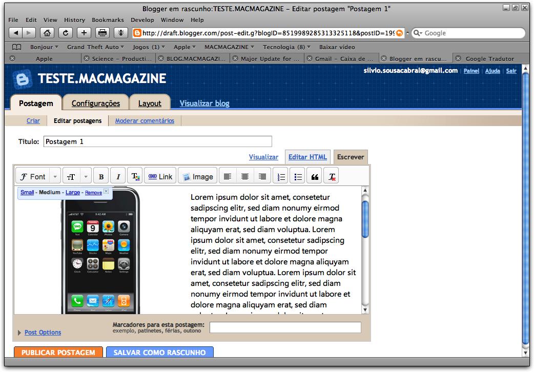 Blogger em Rascunho: tela de postagem