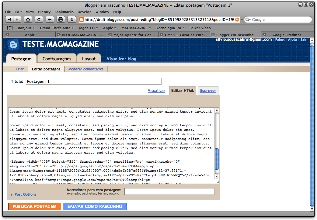 Blogger em Rascunho: editor HTML
