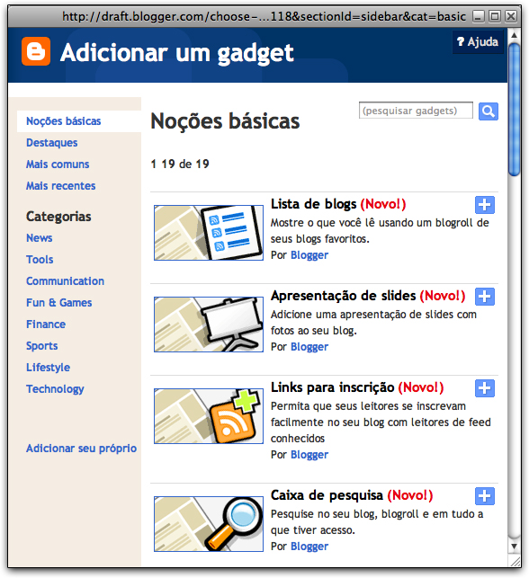 Janela de gadgets do Blogger in Draft