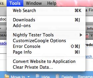 Menu Ferramentas no Firefox