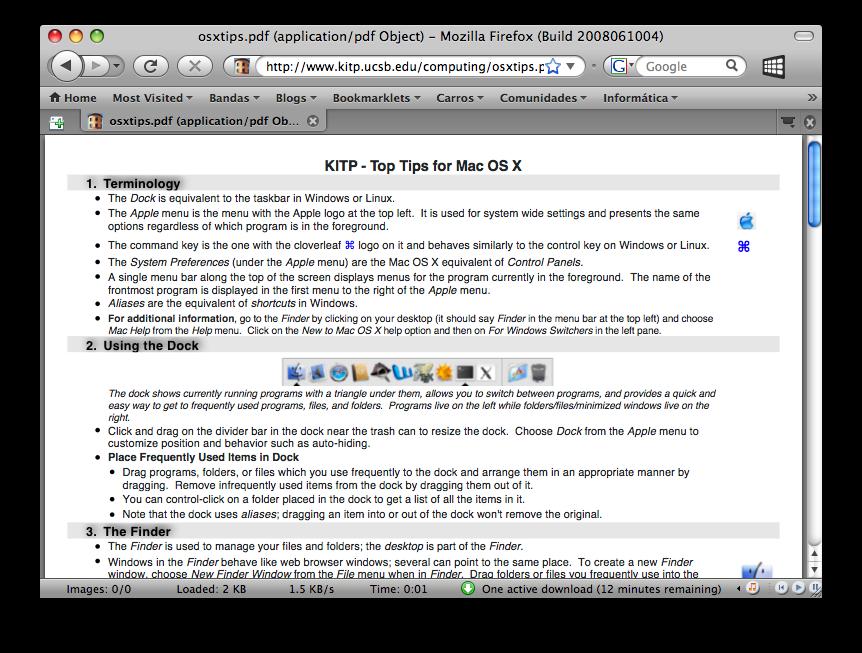 Firefox Exibindo um PDF