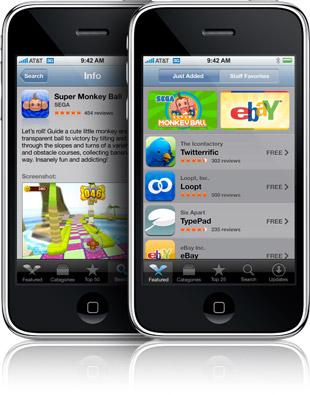 iTunes App Store em um iPhone 3G
