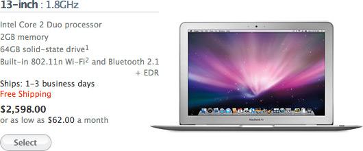 Preço do MacBook Air