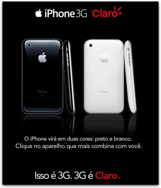 Email marketing da Claro sobre o iPhone 3G