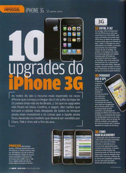 Matéria da INFO sobre o iPhone 3G