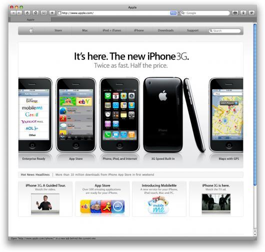 Apple.com hoje