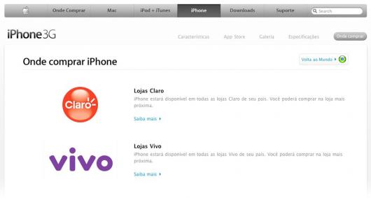 Vivo do site da Apple Brasil