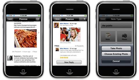 Pownce em iPhones