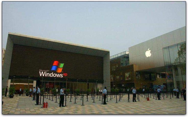 Apple Store de Pequim exibindo logo do Windows XP no painel eletrônico: clique para ampliar