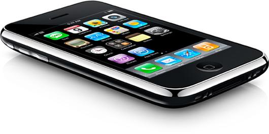 iPhone 3G deitado, de lado