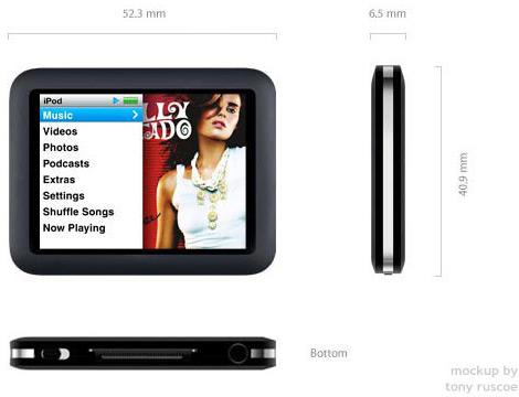 Mockup de um novo iPod touch nano