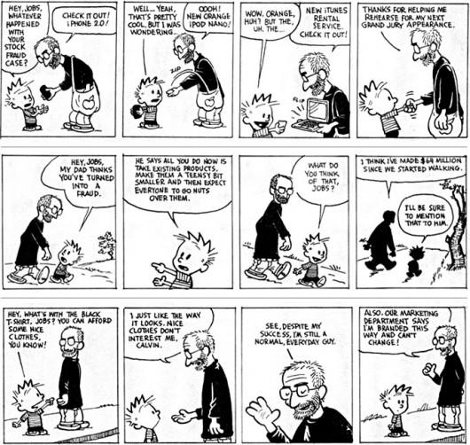 """Tirinhas """"Calvin and Jobs"""" publicadas na Mad Magazine"""