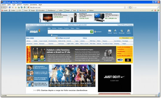 MSN Brasil no Firefox