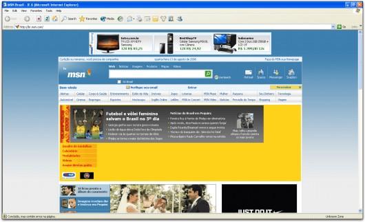 MSN Brasil no Internet Explorer 6.0