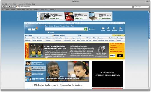 MSN Brasil no Safari para Windows