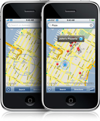 Aplicativo Mapas no iPhone