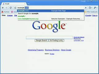 Outro exemplo do recurso de auto-completar na barra de endereços do Google Chrome