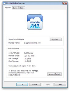 MobileMe Control Panel for Windows