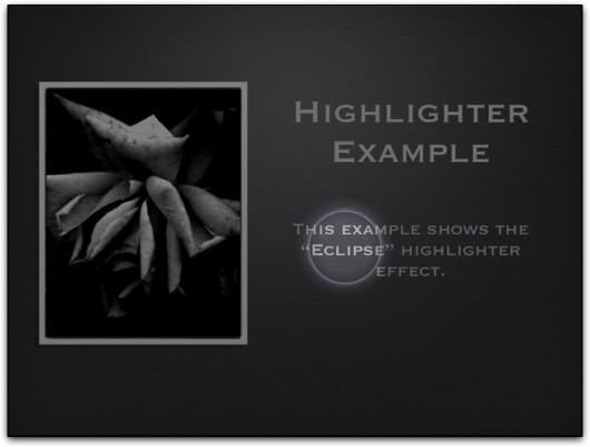 Destaque com holofote em apresentação do Keynote