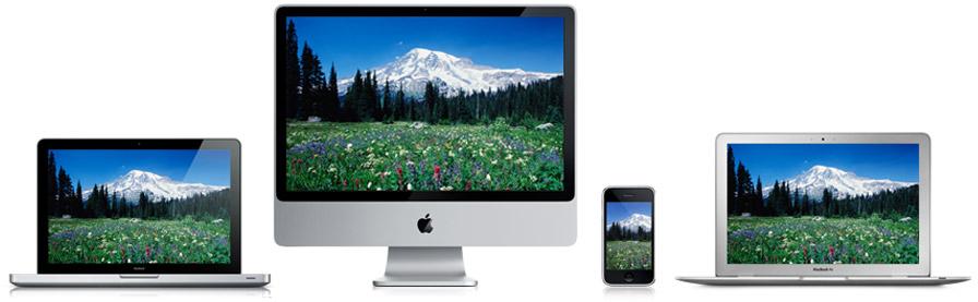 """Produtos da Apple com fundo de tela """"verde"""""""